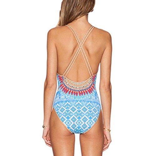 Traje de baño de las señoras Bañador Mujer Siamés Folk-personalizado Bikini de impresión de gran tamaño Bikini Azul