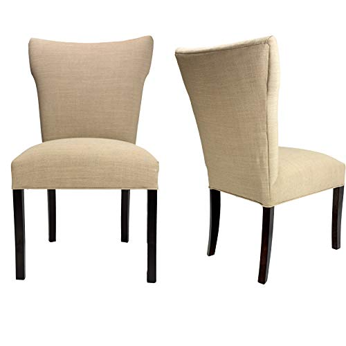 Sole Designs Bella Allure Pebble Espresso Legs Upholstered Dining Chairs (Set of 2) Tan