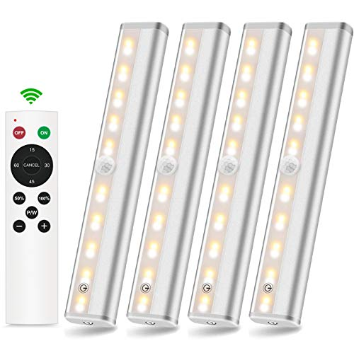 SZOKLED Wireless Under Cabinet Lighting Battery Operated 20 LEDs Remote Control Closet Lights with Timer Dimming Touch…