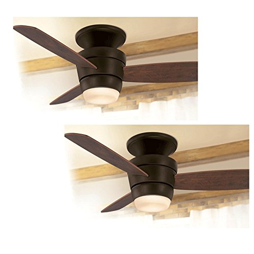 Set of 2 Harbor Breeze Platinum Series 44-in Oil-Rubbed Bronze Flush Mount Ceiling Fan With Light Kit and (Series Mounting Kit Ceiling Mount)
