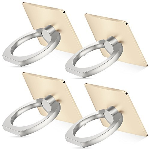 Cell phone holder, 4 Pack SENHAI Universal Smartphone Ring Grip Stand Car Mounts for Iphone, Ipad, Samsung HTC Nokia Smartphones, Tablet (4 Gold) (Lg G Pad Vs Samsung Tab E)