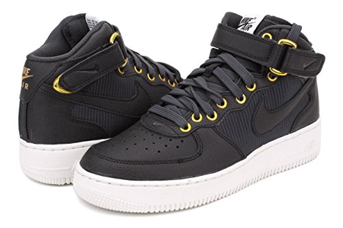 Nike Air Force 1 Mid Lv8 (Gs), Zapatillas de Baloncesto para Niños Negro / Blanco (Black / Anthracite-Summit White)