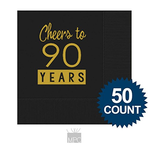 90th Birthday Black Cocktail Napkins - Cheers to 90 Years (50 (90th Birthday Napkins)