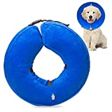 Holysteed Dog Inflatable Protective Collar, Pet E-Collar for Dog Cats to Prevent Pets from Touching Injury or Surgical Sites Blue (Large)