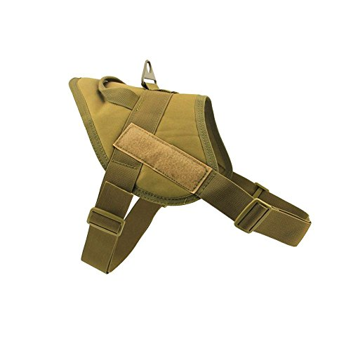 MEIKAI Tactical Service K9 Dog Harness Police Patrol Vest Training Molle Harness Vest Comfort Nylon (L, Coyote Brown)