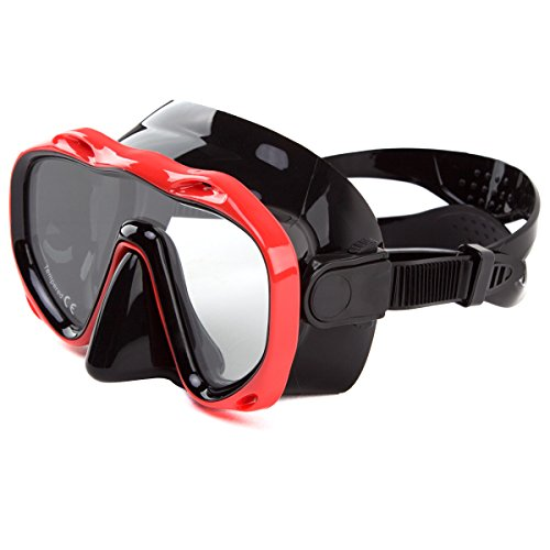 Whale an-ti Fog Dive Mask Scuba Diving Goggles,Waterproof and Quick Adjustable Snorkeling Masks for Men & Women-Red