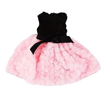 45,7cm Vêtements de poupée sans bretelles Fluffy mignon Robe ajustée American Girl Doll Noir et rose