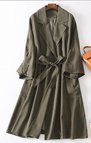 Gocgt Womens Lapel Open Front Wrap Belted Casual Long Trench Coat Army Green M by Gocgt (Image #3)