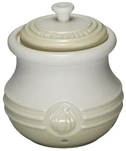 Le Creuset Stoneware - Tarro para ajos, color blanco