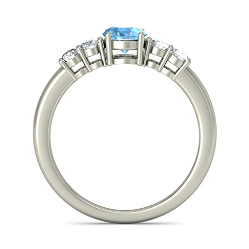18 K Or Blanc, 0.17 CT TW Diamant Blanc (IJ | SI) Topaze bleue et diamant Bague