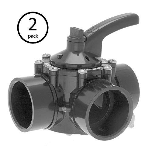 Hayward PSV Swimming Pool 3-Way 1-1/2-2 Inch PVC Water Diverter Valve (2 Pack)