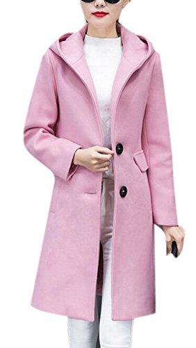 Women's Casual Thick Warm Hood Outwear Long Slim Winter Wool Peacoat Pink XXL