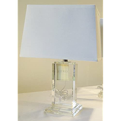 Ralph Lauren Home Rectangular Column Crystal Base With Rectangular White  Linen Shade