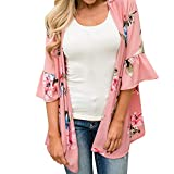 Women's 3/4 Flare Sleeve Floral Sheer Chiffon Kimono Cardigan Cover up Tops (Pink, M)