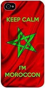 Morrocan Flag - Keep Calm I'm Morrocan, For Iphone 6 Plus Phone Case Cover Universal- Hard White Plastic