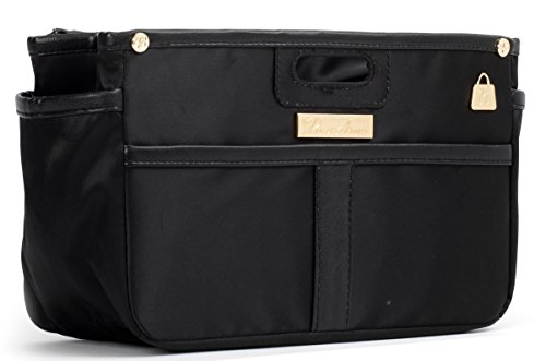 Handbag Organizer, Purse Organizer for LV, Satin Handbag Liner, Black Tote Bag Organizer, Bag in Bag, Purse Shaper for LV, Goyard, Hermes, Longchamp (7 Colors, 3 Sizes) (Small, Black)