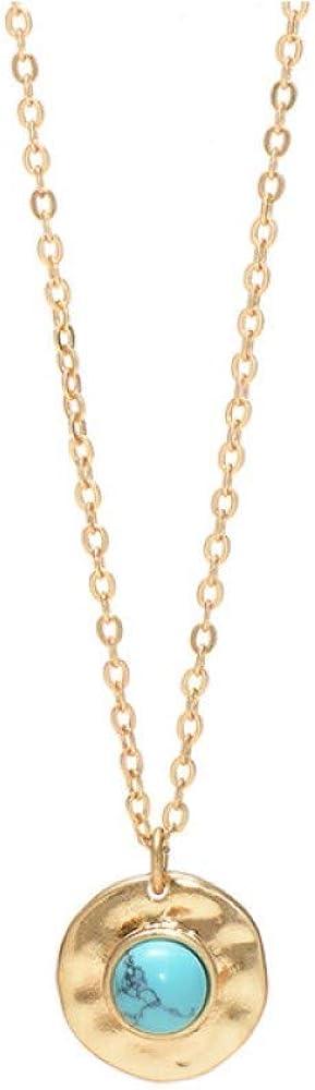 Collar con colgante de círculo dorado con piedra central azul turquesa natural y cadena de oro ajustable