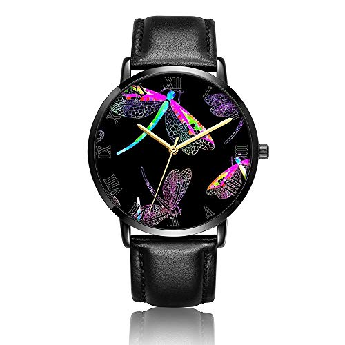 - Customized Beautiful Dragonfly Wrist Watch, Black Leather Watch Band Black Dial Plate Fashionable Wrist Watch for Women or Men