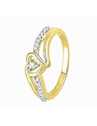 Sterling Silver Yellow Plated Round Diamond Heart Promise Ring (1/10 Cttw)