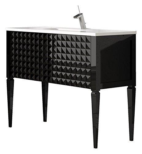 (Diamond 40-inch Wide Bathroom Vanity Cabinet Set, Black High Gloss, Single Sink White Sink Console, Glass Top, Floor Mounted, Made in Spain (European Brand))