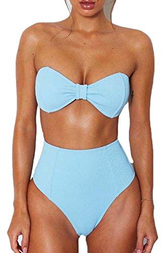 Laucote Womens Sexy Knot Front Ribbed Knit Bandeau Swimsuit High Cut Bikini Set