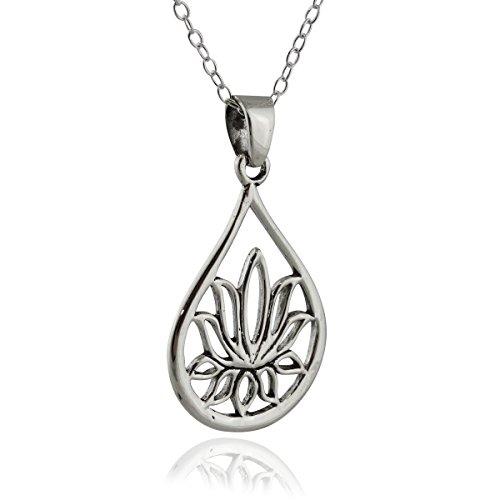 Pendant Teardrop Asian - Sterling Silver Teardrop Lotus Flower Pendant Necklace, 18