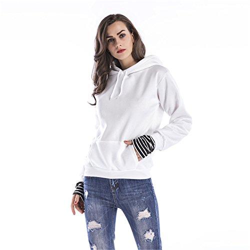 Top Sudadera Cuff Manga Rayas Panel T Con Capucha Sweatshirt Cuffs shirt Stripe Larga Hoodie Spliced Blanco Camiseta Playera wxSqqg0aX