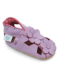 Dotty Fish Soft Leather Baby Shoes with Suede Soles. Toddler Sandals and T-Bars. Anti Slip. 0-6 Months to 3-4 Years