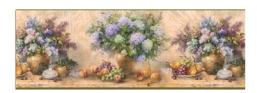 Blue Lilac Bouquet Fruits Wallpaper Border