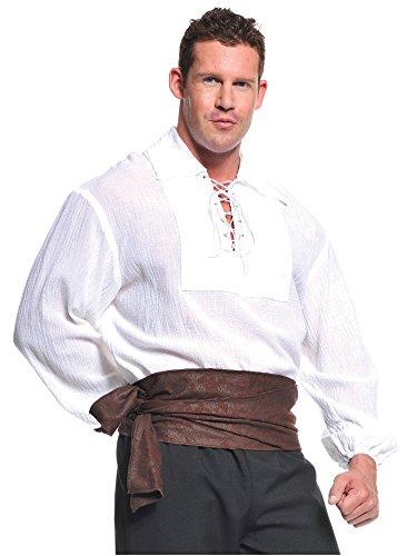 Underwraps Costumes  Men's Renaissance Pirate Shirt, White, One Size - Renaissance Man Adult Costumes