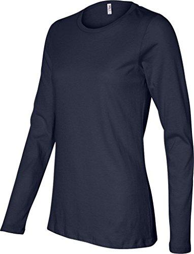 Missy cuello redondo manga larga jersey camiseta azul marino