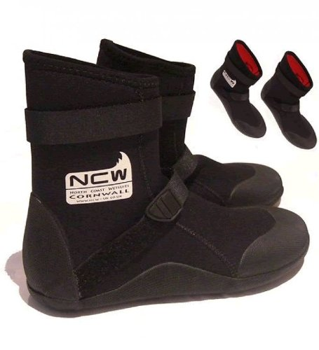 5mm Thermal Lined Warm Wetsuit Boots for surfing and watersports. Black. Quality product from NCW Cornwal. Buyers of these wetsuit boots use them for : Surfing, Windsurfing, kitesurfing, kneeboarding, Black