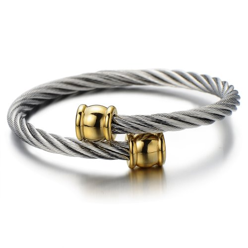 Unisex Stainless Steel Bangle Two Tone - 4