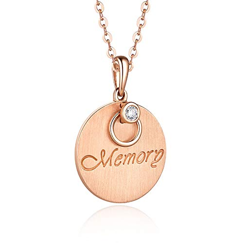 Beydodo 18k Gold Necklace Pendants for Women Coins Pendant Engraved Memory Diamond Valentines Necklace