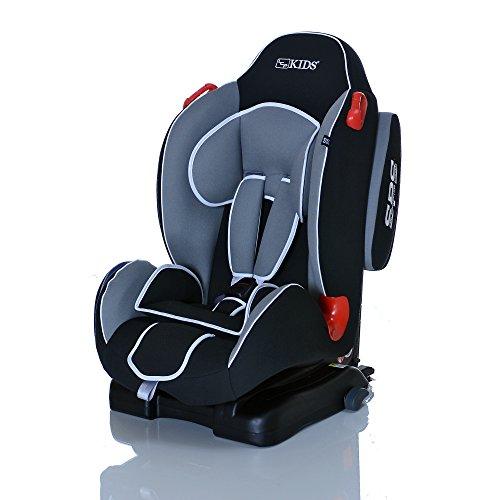 LCP Kids SIRIUS iFix JetBlack Isofix Kinderautositz 9 bis 25 kg Gruppe 1 und 2 mit dem SPS Seitenauprall Schutzsystem und 4-facher Liegeposition - schwarz