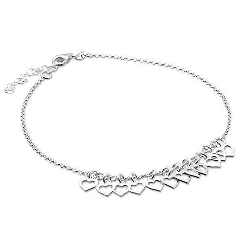 Sterling Silver Floating Heart Bracelet - sense925 Sterling Silver Anklet Floating Hearts 23 cm extendable to 27 cm