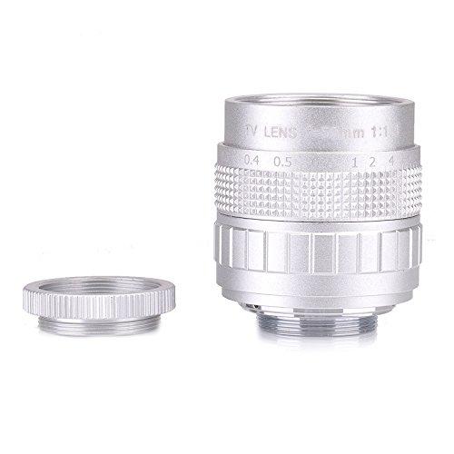 Silver Fujian 35mm f/1.7 CCTV cine lens for M4/3/MFT Mount Camera & Adapter bundle black Micro 4/3 M4/3 GF3 GF5 E-PL3 E-P3 E-PM1