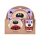 KOROWA Kids Tableware Set 5Pcs Baby Bamboo Fiber Cartoon Bowl Animal Dinnerware Set Toddler Cup Spoon Fork