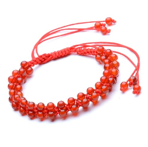 (Feng Shui Handmade Red String Bracelet with Agate Beads for Good Fortune (With a Betterdecor Pounch)