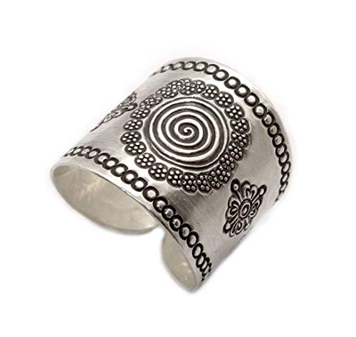 Handmade Sterling Silver Mandala ring, Boho Ethnic Tribal Sun Solar Ring, Bohemian Gypsy Silver Ring, Adjustable, also as Thumb ring