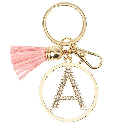 Gold Silver Rhinestone Alphabet Initial Letter Keychain, Key Ring, Bag Charm w/Tassel