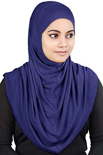 MyBatua Women's 2-Piece Al-Amira Hijab with Under Scarf/Cap/Bonnet in Soft Viscose Jersey, Ready to Wear HJ-129 (Royal Blue) ()