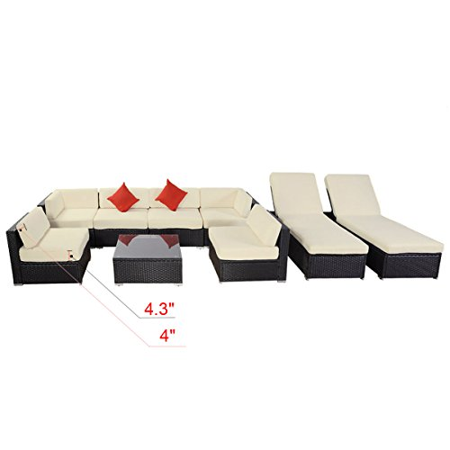 9pcs Polar Aurora Outdoor Patio Furniture Rattan Wicker Sectional Sofa Chair Couch Set Deluxe Black price