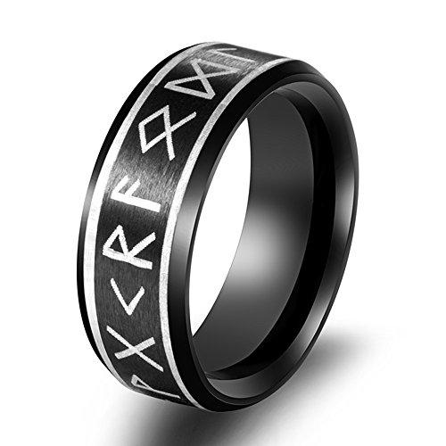 (FLYUN Hot Stainless Steel Ring Viking Runes Band Titanium Silver Black Gold Men Size 7 to 10 Wedding (Black, 11))