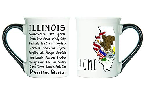 Cottage Creek Illinois Gifts Large 18 Ounce Ceramic Illinois Map Coffee Mug/Illinois Gifts [White]