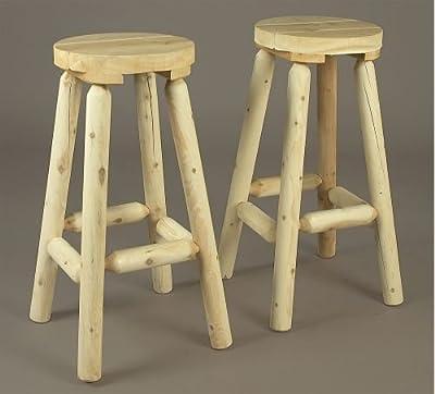 Rustic Natural Cedar Furniture 010051Z 30 Stool Bar Seating, Natural