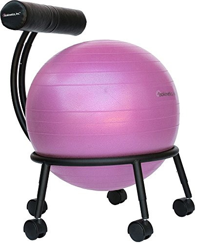 Frame Ball - Isokinetics Inc. Brand Adjustable Fitness Ball Chair - Solid Black Metal Frame Finish - Exclusive: 60mm (2.5