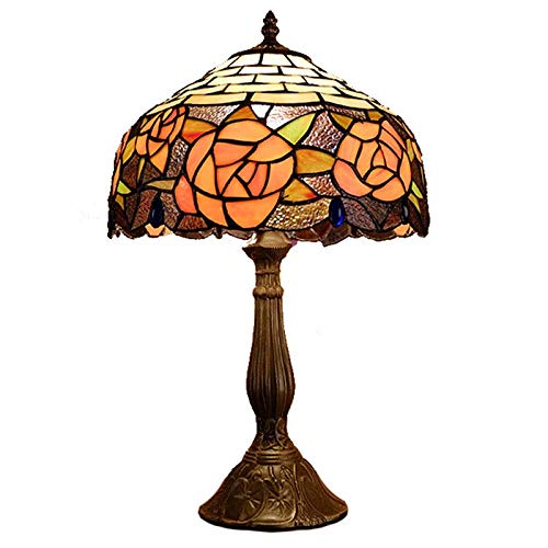(QCKDQ 12 Inch Desk Light, Tiffany Style Table Lamp with Peony Flower Stained Glass Lamp, Bedroom Bedside Desk Small Table Light Decorative E27,Max40w)