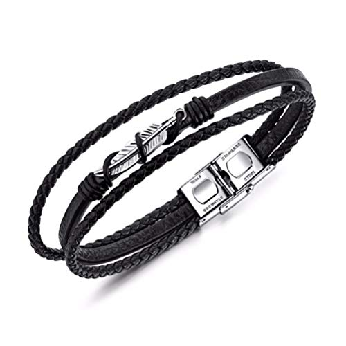 Mix 3 Wrap Bracelets Men Women, Hemp Cords Wood Beads Ethnic Tribal Bracelets Leather Wristbands ()