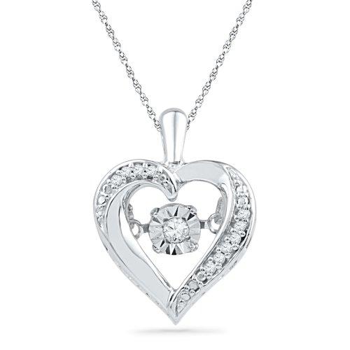 Sterling Silver Round Diamond in Motion Heart Pendant (0.06 CTTW) - Lovely Diamond Heart